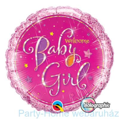 Welcome Baby Girl Stars Holografikus Fólia Lufi Babaszületésre