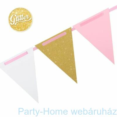 Gold - Pink - White Papír Füzér 3 m