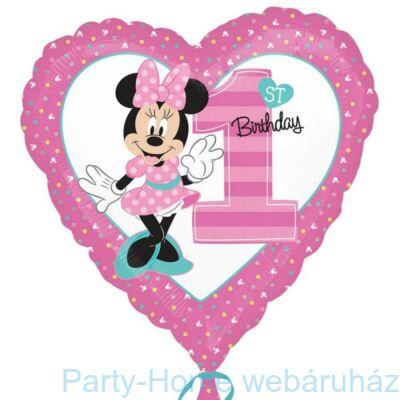 18 inch-es Minnie 1st Birthday Első Szülinapi Fólia Lufi