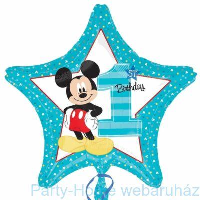 18 inch-es Mickey Mouse Csillag Alakú Első Szülinapi Fólia Lufi Ha első szülinapi lufi a célpont, Mickey egér lesz a tökéletes választás. A vidám Disney figura büszkén pózol a 1st Birthday feliratú héliumos léggömb mindkét oldalán. Színe igazán fiús, ráad