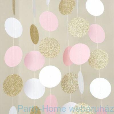 Gold - Pink Confetti Glitter Banner Dekoráció Füzér - 3 m