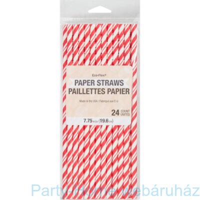 Papírszívószál Csíkos Piros-Fehér 24 db-os