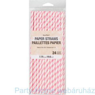 Papírszívószál Csíkos Pink-Fehér 24 db-os