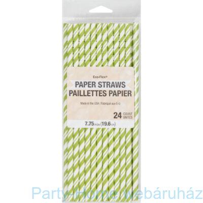 Papírszívószál Csíkos Zöld-Fehér 24 db-os