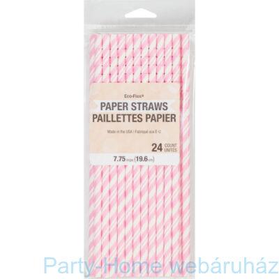 Papírszívószál Csíkos Rózsaszín-Fehér 24 db-os
