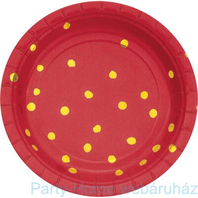 Pöttyös Tányér Piros-Arany 18 cm 8 db