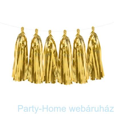 Fényes Arany - Gold Rojtos Girland Dekorációs Füzér 2 m.