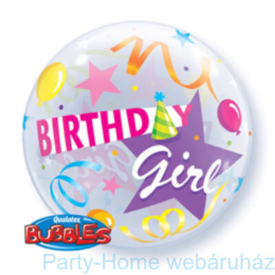22 inch-es Kislányoknak - Birthday Girl Party Hat Szülinapi Bubble Lufi Segítség