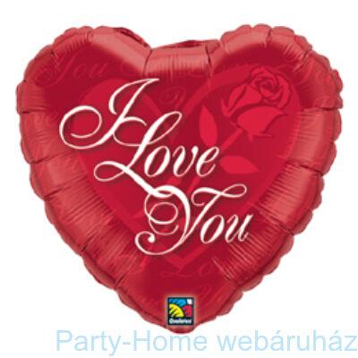 Rózsás Szív I Love You Red Rose Szerelmes Fólia Lufi