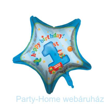 Happy Birthday 1st Kék Csillag Szülinapi Fólia Lufi