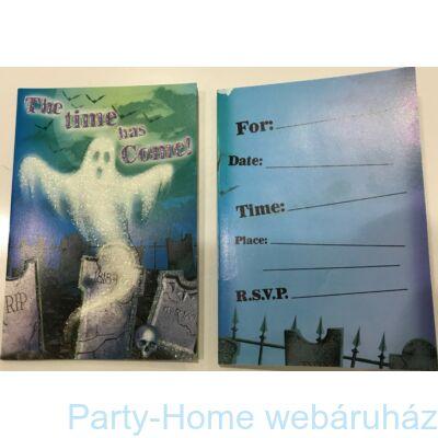 Ijesztő Szellem Csillámos Meghívó Halloweenra 8db