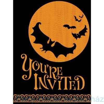 Moon & Bat Meghívó Halloweenra 8db