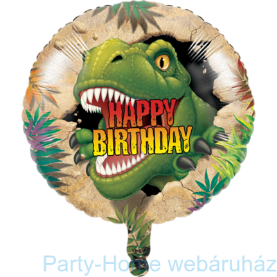 18 inch-es Dinoszauruszos Happy Birthday Fólia Lufi
