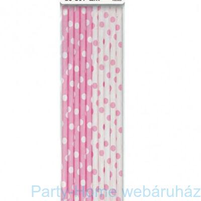 Papírszívószál pöttyös pink