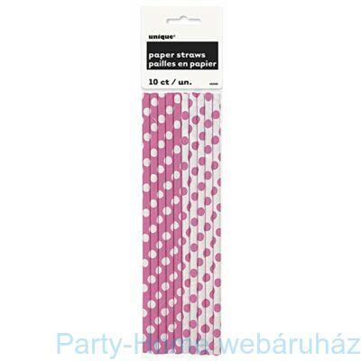 Papírszívószál pöttyös pink 10db