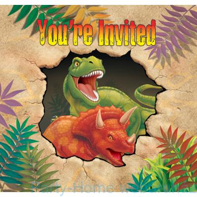 Dinoszaurusz parti meghívó 8db