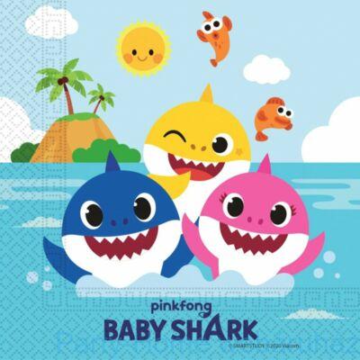 Baby Shark Party Szalvéta - 33cm x 33cm-es, 20 db-os
