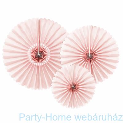 Halvány Rózsaszín Dekorációs Rozetta Legyező Függő Dekoráció - 3 db-os
