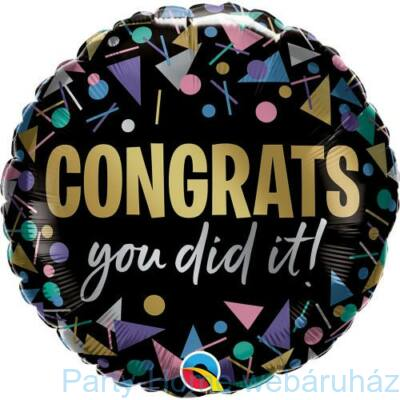 18 inch-es Gratulálok - Congrats You Did It Metallic Fólia Lufi