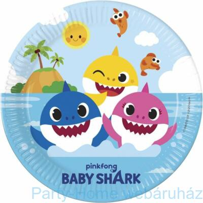 Baby Shark Papír Party Tányér - 8 db-os, 23 cm-es
