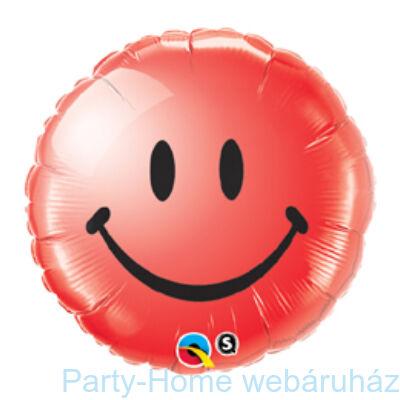 Piros Mosolygós Arc Smile Face Red Fólia Lufi