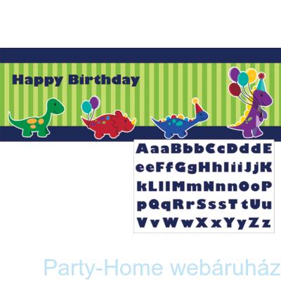 Mini dinós Happy Birthday óriás feliratozható banner 50 x 152 cm