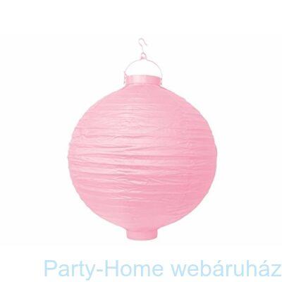 Rózsaszín-Pink Színű Világító Gömb Lampion - 20 cm