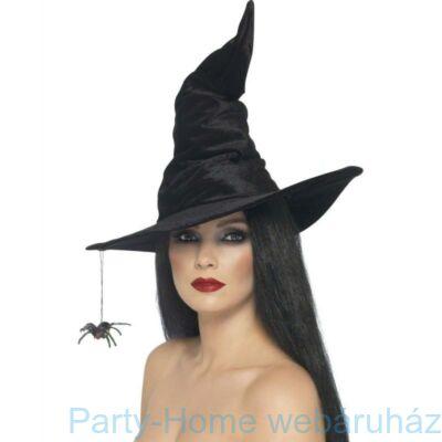 Fekete Velúr Boszorkány Kalap Pókkal
