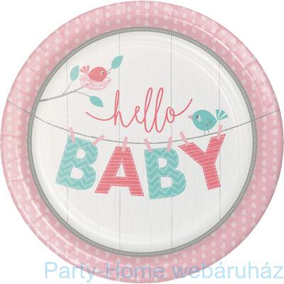 Hello Baby Girl Party Tányér - 23 cm, 8 db-os