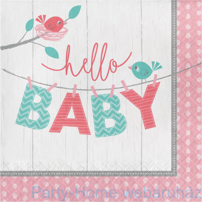 Hello Baby Girl Party Szalvéta - 33 cm x 33 cm, 16 db-os
