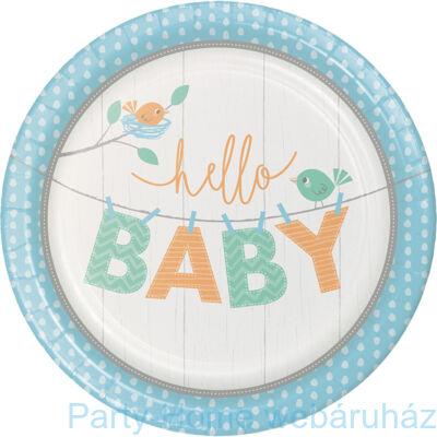 Hello Baby Boy Party Tányér - 23 cm, 8 db-os