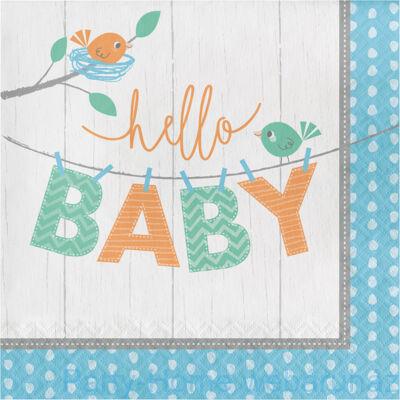 Hello Baby Boy Party Szalvéta - 33 cm x 33 cm, 16 db-os