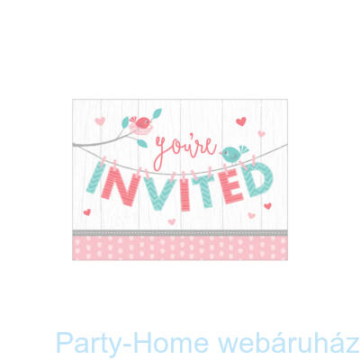Hello Baby Girl Party Meghívó - 8 db-os