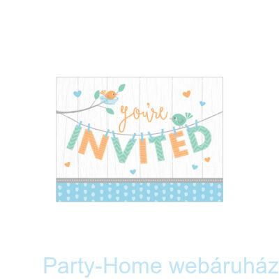 Hello Baby Boy Party Meghívó - 8 db-os