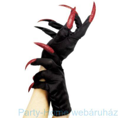 Fekete Kesztyű Piros Glitteres Műkörmökkel