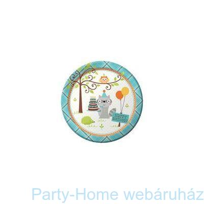 Mókás erdei állatok kék tányér
