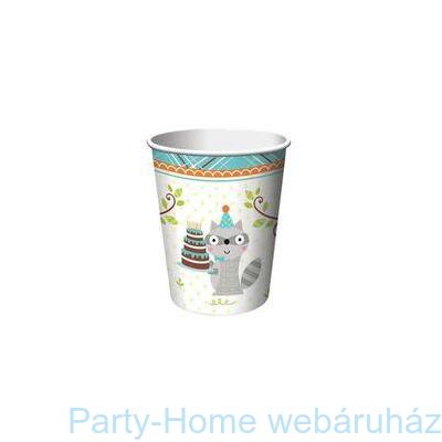 Mókás erdei állatok kék pohár