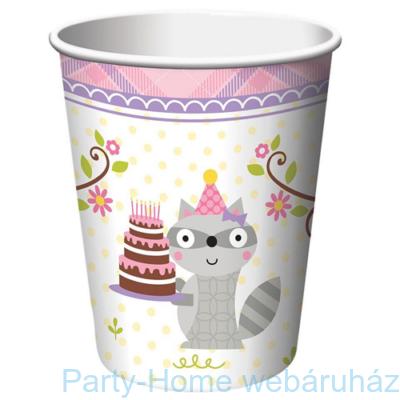 Mókás erdei állatok rózsaszín pohár