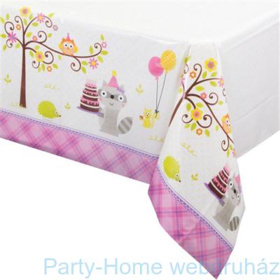 Mókás erdei állatok rózsaszín-asztalterítő