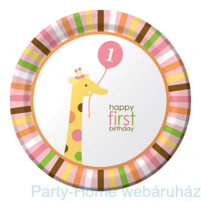 Happy 1. Birthday kislányos tányér