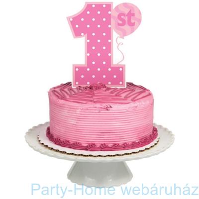Tortadekoráció 1. születésnapra kislányos