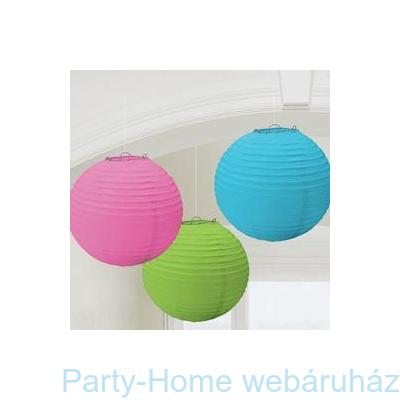 Multi Kék, Pink és Zöld Színű Parti Gömb Lampion