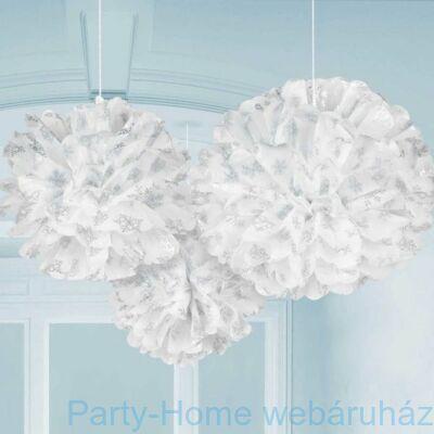 Hópehely Mintás Bolyhos Függő Dekoráció - 3 db-os