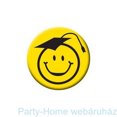 Kalapos Smile Fej Sárga Kitűző Ballagásra