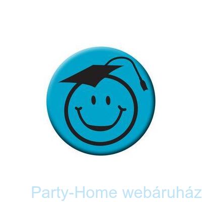 Kalapos Smile Fej Kék Kitűző Ballagásra