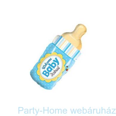 Welcome Baby Kék Cumisüveg Fólia Lufi Babaszületésre