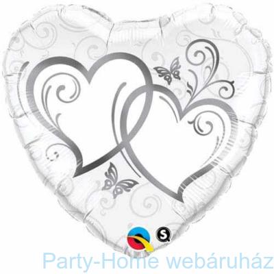 Entwined Hearts Silver-esküvői Szív Fólia Lufi