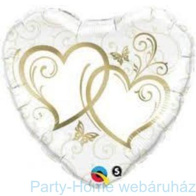 Entwined Hearts Gold-esküvői Szív Fólia Lufi