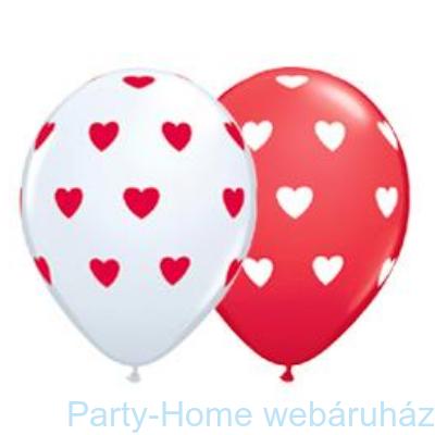 Big Hearts Red and White Szives Szerelmes Lufi