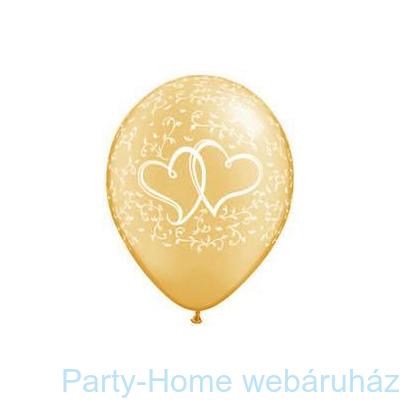 Entwined Hearts Gold-esküvői Lufi
